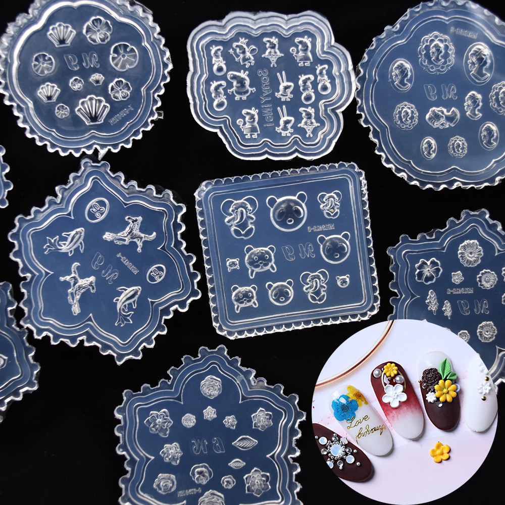 SNASAN Tiny Beads Flower Pig Bear Leaf Shell Dolphin Beauty Nail Art Resin Silicone Mould Tool UV Epoxy Resin Box Silicone Mold