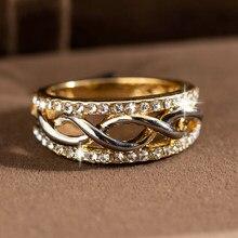 Moda kişilik Spiral parmak yüzük altın renk kristal alyanslar kadınlar için zirkon Glamour yüzük takı kız hediyesi Bijoux