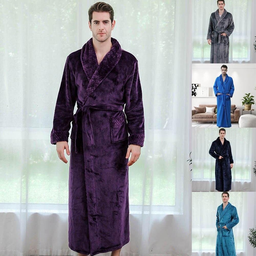 Casual Mens Bathrobes Flannel Robe V Neck Long Sleeve Couple Men Woman Robe Plush Shawl Kimono Warm Male Bathrobe Coat