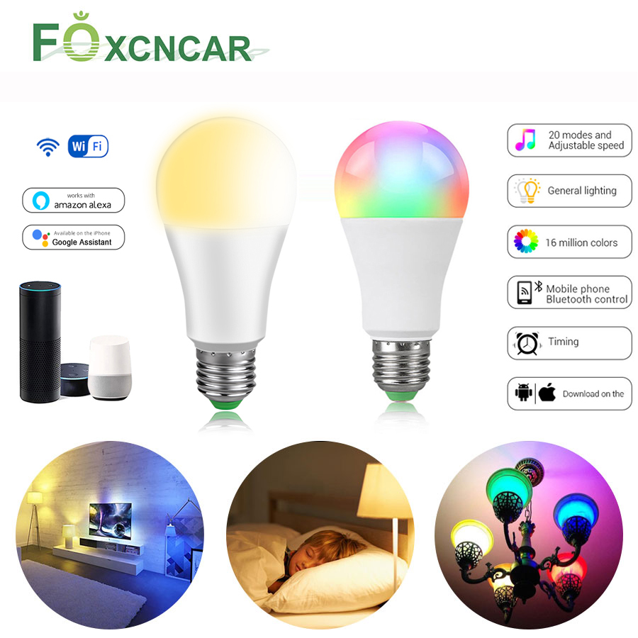 LED Smart WIFI Bulb Light Kitchen Bedroom Dimmable Smart Lamp Compatible With Alexa Google Home LED Bluetooth APP RGB Magic Bulb