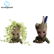 Strongwell Baby Groot Flowerpot Flower Pot Planter Figurines Tree Man Cute Model Toy Pen Garden Gift