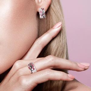Image 5 - SANTUZZA Silver Jewelry Set for Women Shiny Pink Tree Earrings Ring Set 925 Sterling Silver Fashion Jewelry