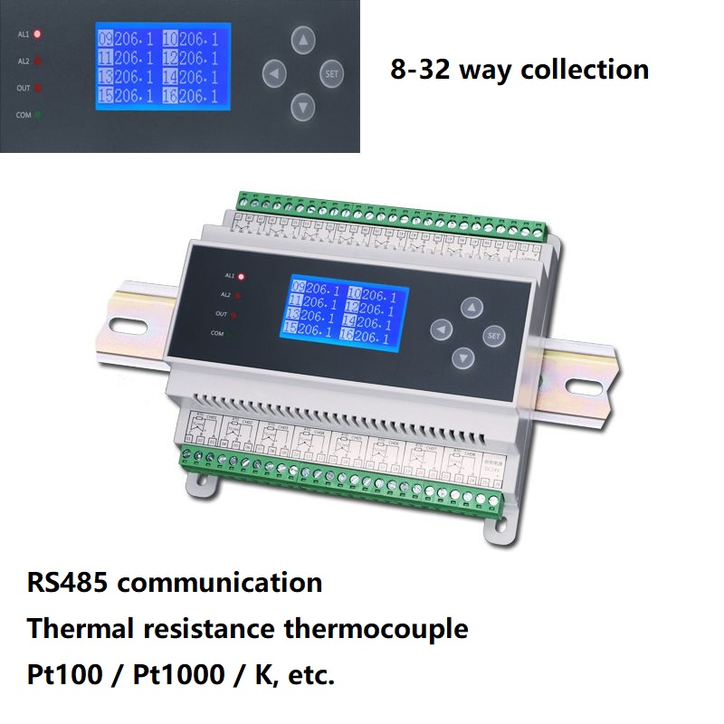 PT100 8-32 Channel  Multi-channel Isolated K-type Thermocouple Thermal Resistance Temperature Collector Acquisition Module RS485