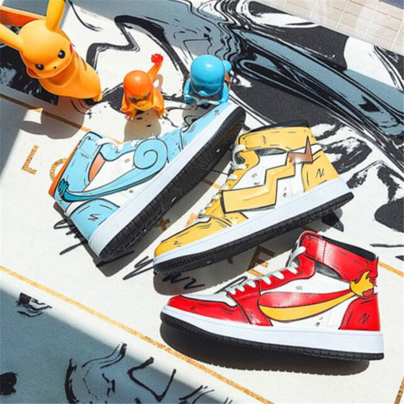 Hot Japan Anime Pokemon Pikachu Shoes Cosplay Men Women Dunk High Skateboard Student Fashion Hip Hop Shoes Charmander Squirtle