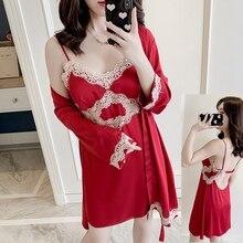 2PCS Braut Brautjungfer Hochzeit Robe Anzug Sexy Frauen Satin Sexy Kimono Bademantel Kleid 2020 Sommer Neue Intimate Dessous Nachtwäsche