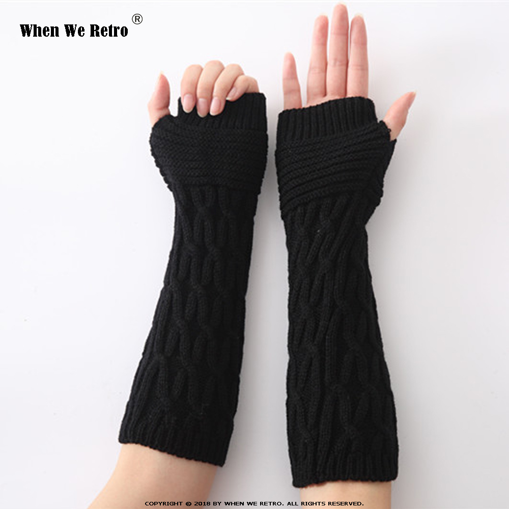 When We Retro Autumn Winter Women Arm Warmers Knit Gloves Arm Wrist Sleeve Warmer Girls Half Finger Winter Mittens QY0578