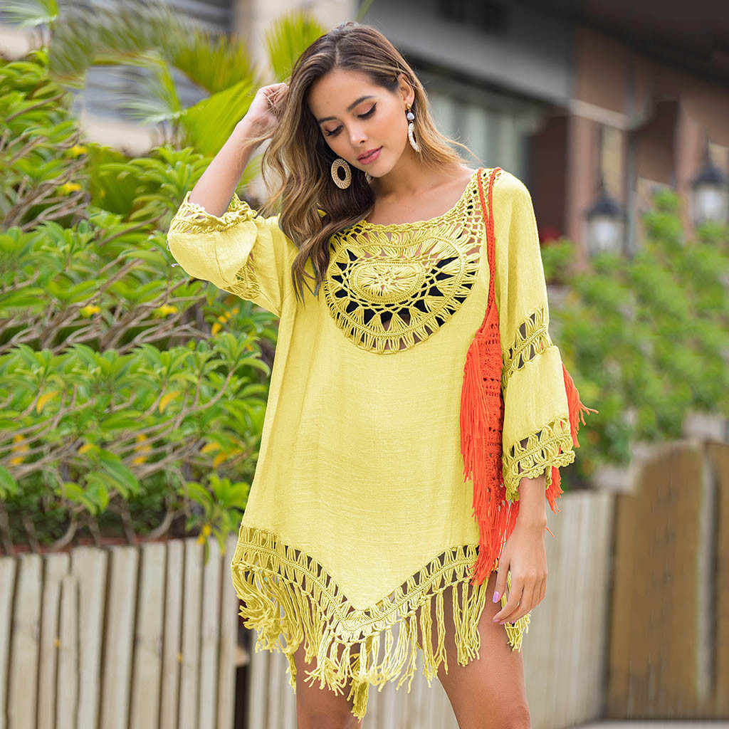여름 해변 드레스 Tassels Pareo 수영복 여성 Hollow Out Beachwear 비키니 커버 Loose Swim Dress Sundress Beach Tunic Hot
