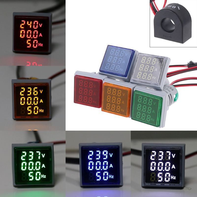 22mm AC Voltmeter Current Frequency Panel Meter Square Signal Light AC 60-500V 0-100A 20-75Hz Digital Volt Amp Hz Led Lamp Indic
