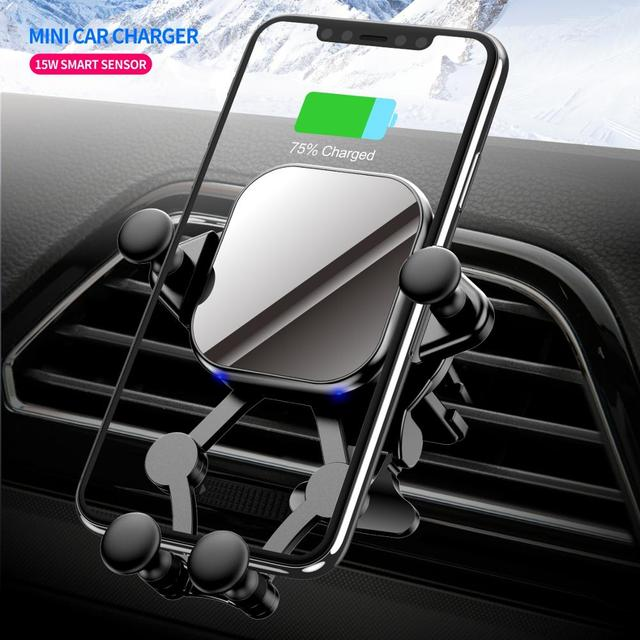 15W QI Car Wireless Charger induction usb mount Automatic Clamping QC3.0 Fast Wirless Charging For iphone 11 pro Samsung SIKAI