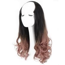 купить Long U Part Wig Synthetic Femme Wavy Toupee Hair For Women High Temperature Fiber Girls Half Lolita Wig дешево