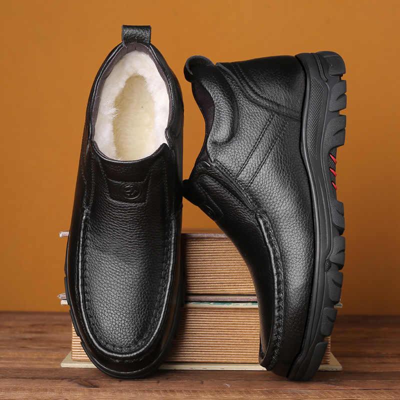 AQ15 2019 NEUE winter Echtem Leder 100% wolle Super warm Freizeit Chelsea stiefel Mode schnee stiefel zapatos de hombre