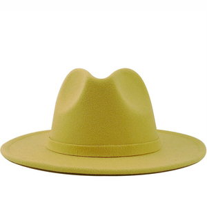 Hot Sell Women Wide Brim Wool Felt Jazz Fedora Hats British style Trilby Party Formal Panama Cap Black Yellow Dress Hat 56-60CM