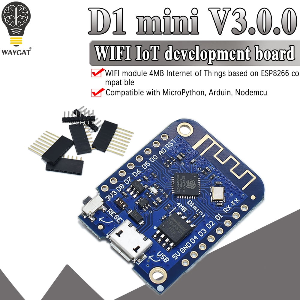Wemos D1 Mini V3.0.0 WIFI Internet of Things Development Board Based ESP8266 CH340 CH340G 4MB For Arduino Nodemcu V2 MicroPython