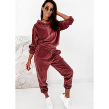 Velour Tracksuit Velvet-Set Two-Piece-Set Winter Womens Woman Autumn