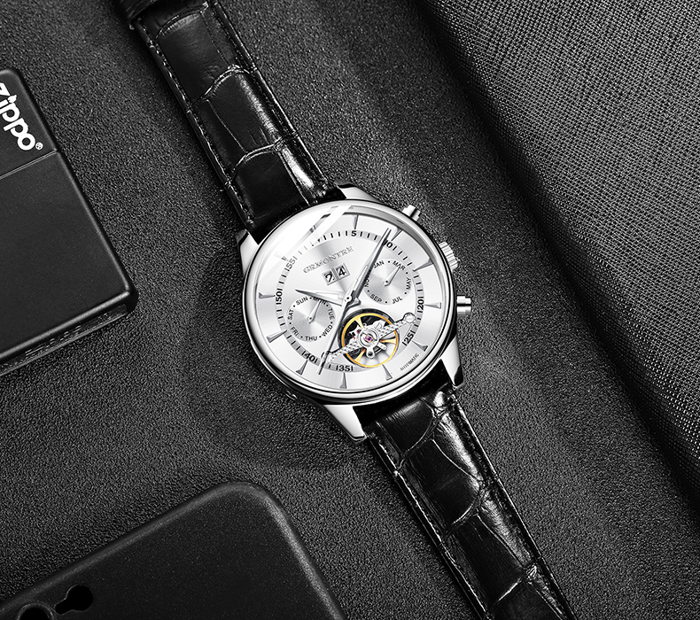 He50d121d295247efa3cd3210c5e75a103 Skeleton Tourbillon Mechanical Watch Men Automatic Classic Rose Gold Leather Mechanical Wrist Watches Reloj Hombre 2018 Luxury