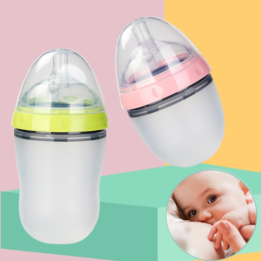 Baby Breastmilk Bottle Wide Neck Soft Silicone Feeding Weaning Milk Container Children Mamadeira Nipple Bottle Newborn Feeding