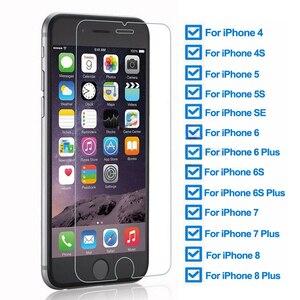 Image 1 - 9H temperli koruyucu cam iPhone 5 5S SE 4 4S güvenlik ekran koruyucu için iphone 6 6S 7 8 artı koruma cam filmi kılıfı