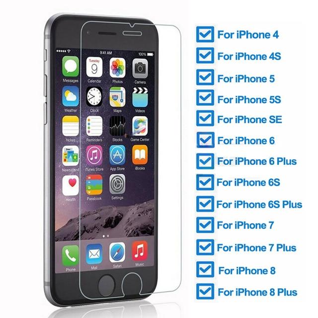 9H temperli koruyucu cam iPhone 5 5S SE 4 4S güvenlik ekran koruyucu için iphone 6 6S 7 8 artı koruma cam filmi kılıfı