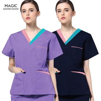 Personality stitching workwear Beauty Salon Worker Scrub Shirt Pet beauty salon Spa Uniform Scrub set V-neck Scrub tops uniform
