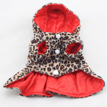 Lovely Pets Dogs Leopard Pattern Tutu Coat Dress Puppy Hoodies Both Sides Wear Dog Clothes x