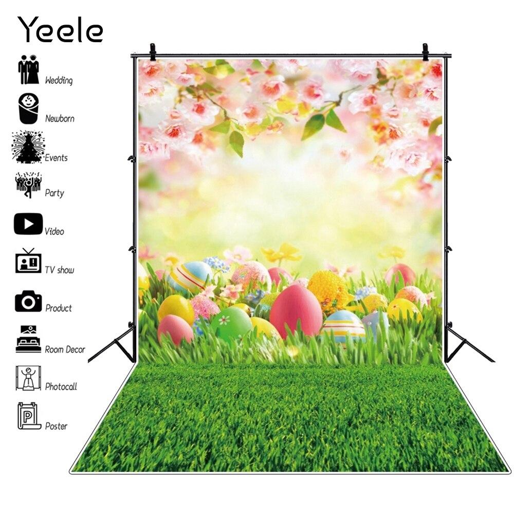 Виниловый фон для студийной фотосъемки новорожденных с изображением весенних цветов луга пасхальных яиц