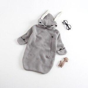 Image 4 - Barboteuse pour bébé, sac de couchage stéréo pour nouveau né, oreilles de lapin, tricoté, vêtements pour bébé, nouvelle collection, automne