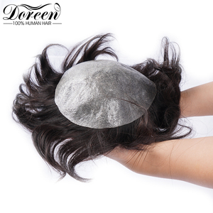 """Image 5 - Doreen European Remy Human Hair Toupee For Men With Transparent Thin skin PU 7"""" x 9"""" Straight Hair Pieces For Men Wig"""