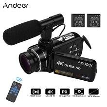 Andoer كاميرا فيديو رقمية احترافية 4K فائقة الدقة ، كاميرا فيديو مع مستشعر CMOS ، مع عدسة بزاوية عريضة 0.45X مع ميكروفون ماكرو