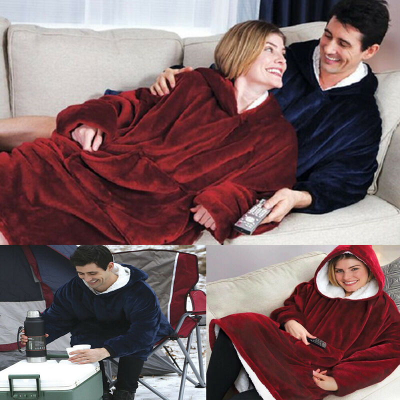 Blanket Robes Hooded Huggle Winter Men Plush Thick with Long-Sleeves Pocket TV Coral-Fleece title=