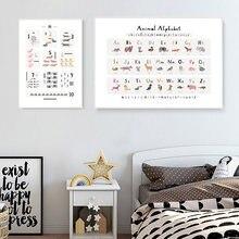 Алфавит мультфильм животных постер номер письмо образовательное