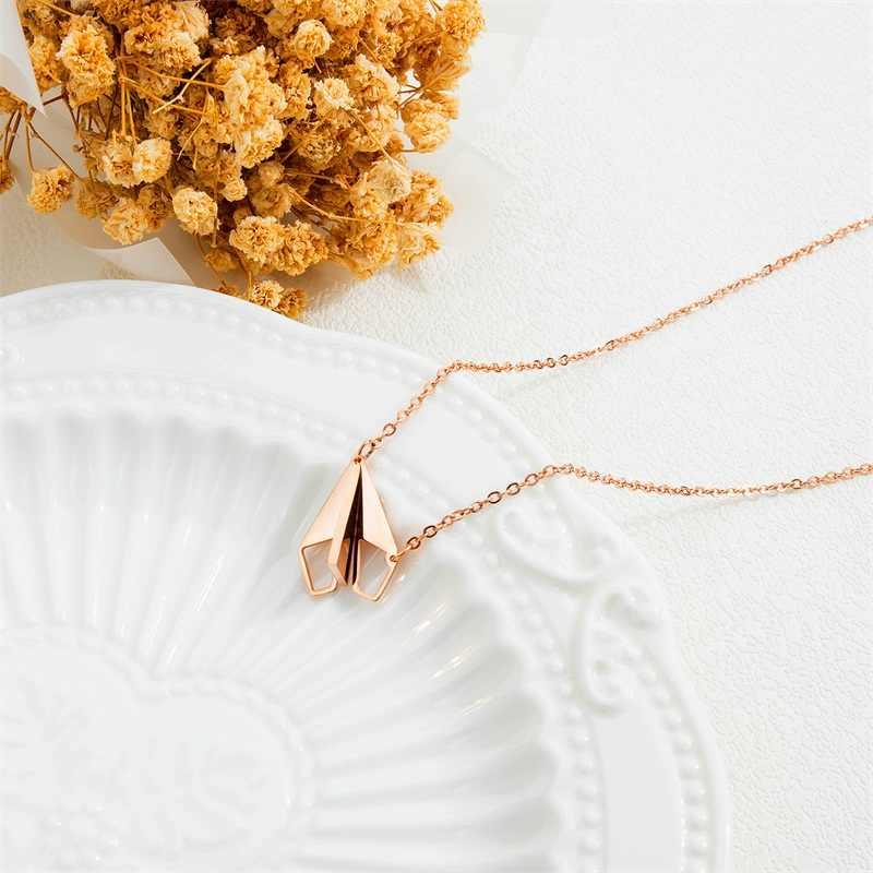 AZIZ BEKKAOUI unikalne papierowe samolot para naszyjnik dla kochanka wisiorki naszyjnik dla kobiet mężczyźni naszyjnik biżuteria ze stali nierdzewnej