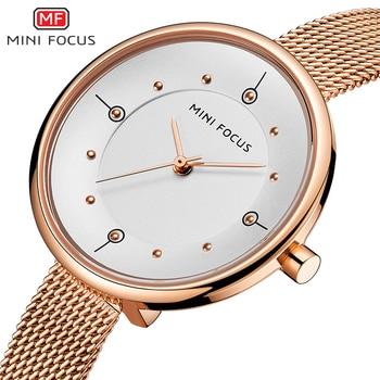 MINIFOCUS Watches Women Quartz Lady Wrist Watch Luxury Fashion Casual Rose Gold Stainless Steel Mesh Strap Relogio Feminino Girl