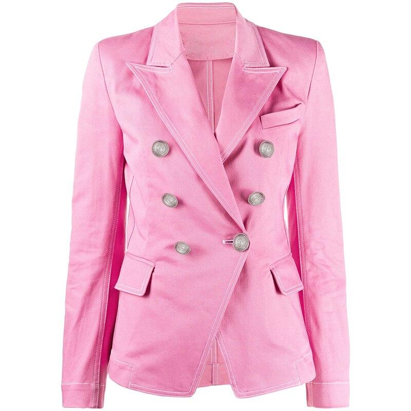 HIGH STREET Newest 2020 Designer Blazer Jacket Women's Classic Double Breasted Lion Buttons Top Stitching Contrast Denim Blazer