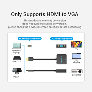 Image 5 - Vention HDMI VGA Convernet HDMI erkek VGA kadın adaptörü dijital Analog HD 1080P PC Laptop Tablet için PS4 HDMI VGA adaptörü