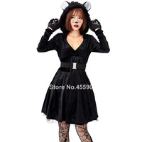 New Sexy Black Animal Cat Catsuit Cosplay Costuems for Women Halloween Cute Kitty Hooded Tutu Dress with Tail Performance