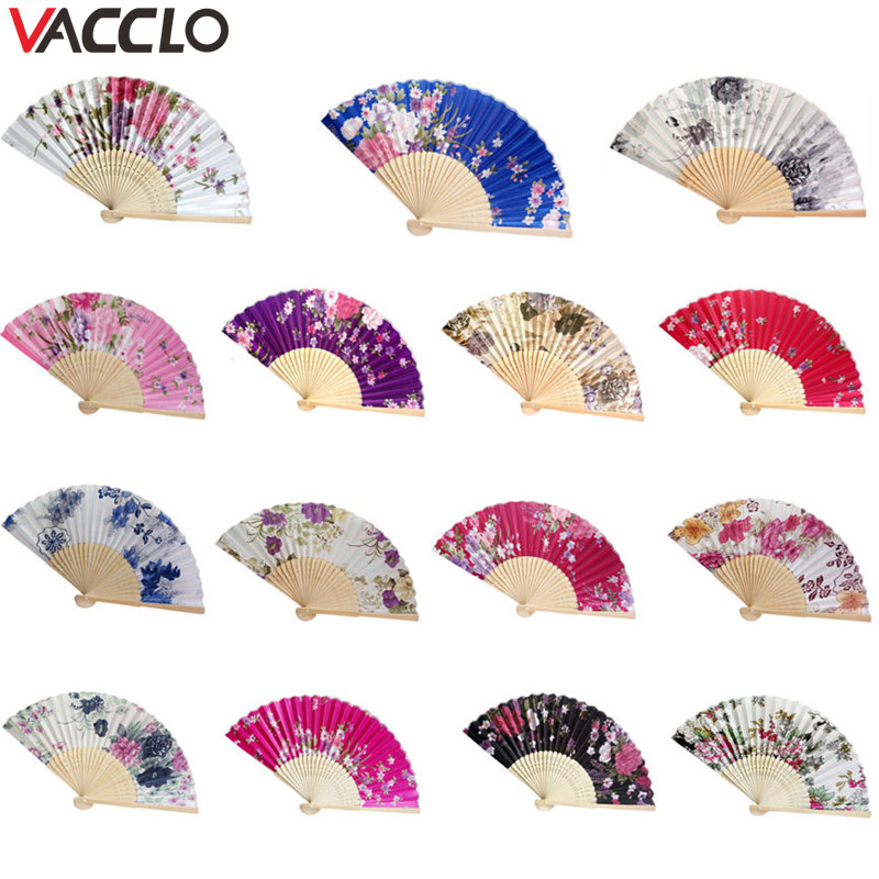 Vacclo Retro Chinese Silk Fabric Folding Fan Hand Held Dance Flower Pattern Party Decor Chinese Dance Party Pocket Gift Wedding