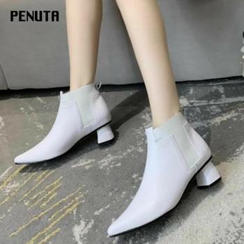 ¡Novedad de 2020! Botines para mujer de PENUTA, zapatos de piel auténtica con punta estrecha, tacón medio de gran calidad, botines cortos para mujer, color blanco, negro, D09