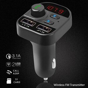 Multi-function Power Adapter Handsfree Wireless Bluetooth 5.1 FM Transmitter MP3 Radio USB Charger FM Modulator Car Accessories