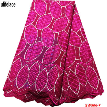2019 Latest Dry Cotton Nigerian Lace Fabrics for Dress High Quality African Lace Fabric for Wedding Voile Lace Fabric SW-506