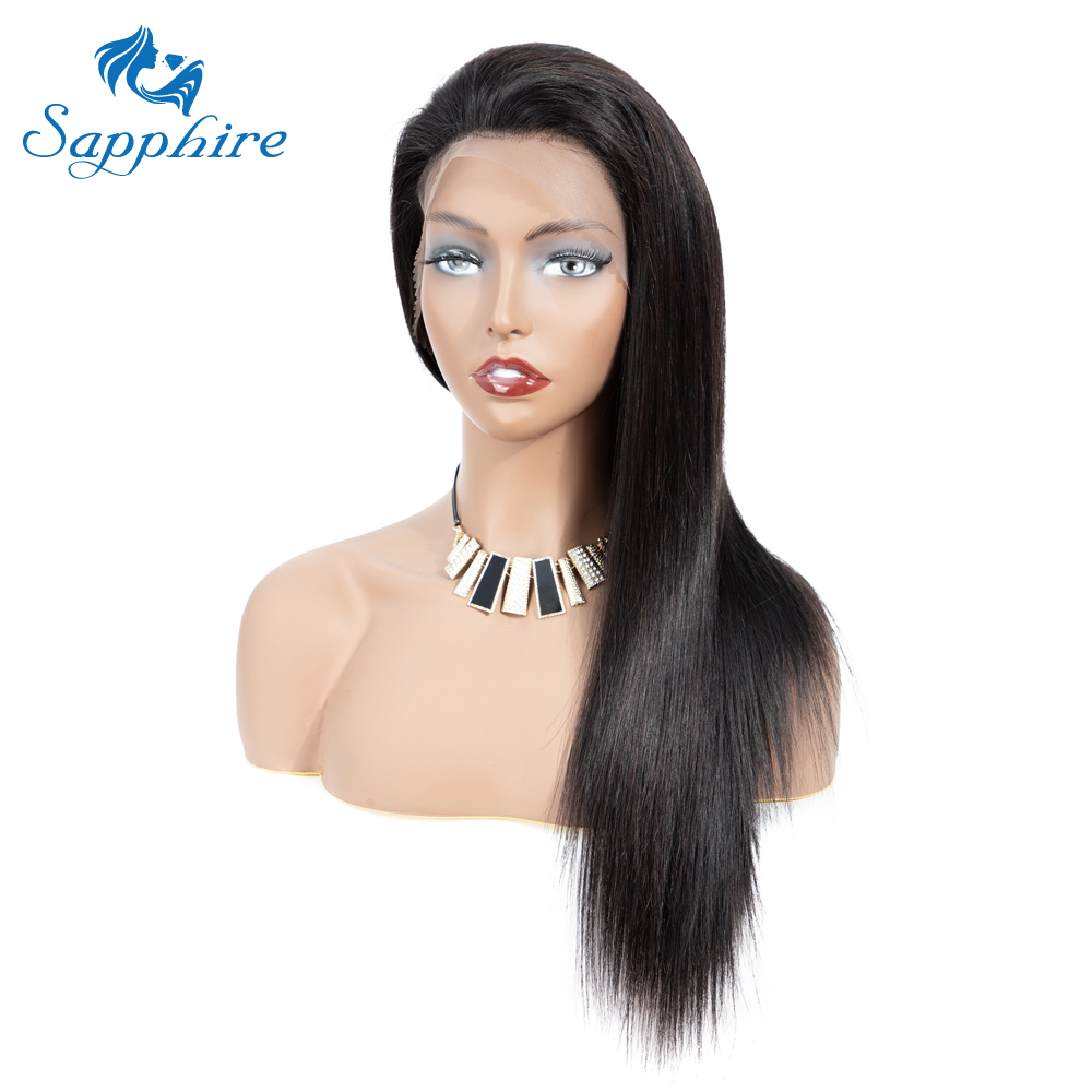 Sapphire 13*4 Lace Frontal Human Hair Wigs For Women Brazilian Straight Human Hair Wig Pre Plucked With Baby Hair Bleached Knots-in Lace Front Wigs from Hair Extensions & Wigs    1