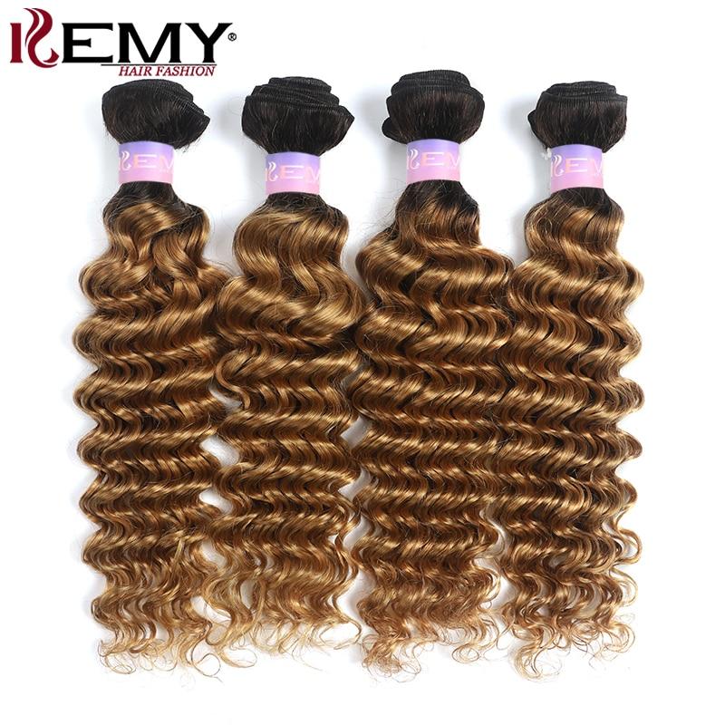 Deep Wave Human Hair Bundles Ombre Blonde Brown Two Tone Brazilian Hair Weave Bundles Non-Remy Hair Extension 3/4 PCS KEMY HAIR