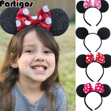 Headband Bows Hair-Clips Antlers Sequin Christmas-Ears Birthday-Party Pink for Girls