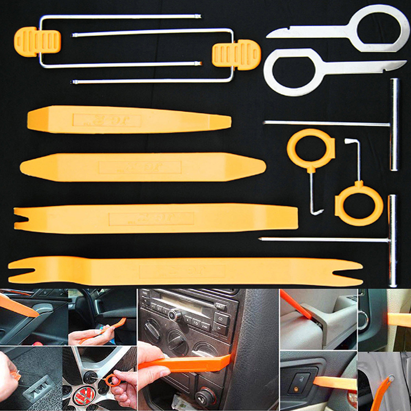 12Pcs Professional Automobile Audio Door Clip Panel Trim Dash Auto Radio Removal Pry Tools Set Car Panel Removal Tool Kit