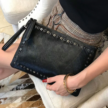 Rivet Envelope Fashion Horse Hair  Bag Horsehair Evening Shoulder Bags Rivet hand bag  High Quality Party Bag
