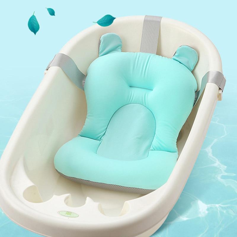 Banheira de chuveiro do bebê almofada de banheira antiderrapante suporte de assento de banheira de segurança recém-nascido almofada de apoio de banho dobrável macio travesseiro