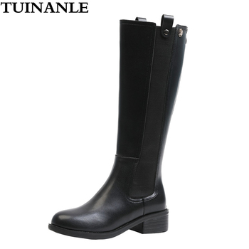 TUINANLE Boots Women Mid-Calf High Quality PU Leather Riding, Equestrian Zip Sexy Shoes Waterproof Shoes Botas Mujer Invierno knee high boots pu leather rivet lace up sexy lady high boots shoes woman ponited female classic vintage botas riding motorcycle