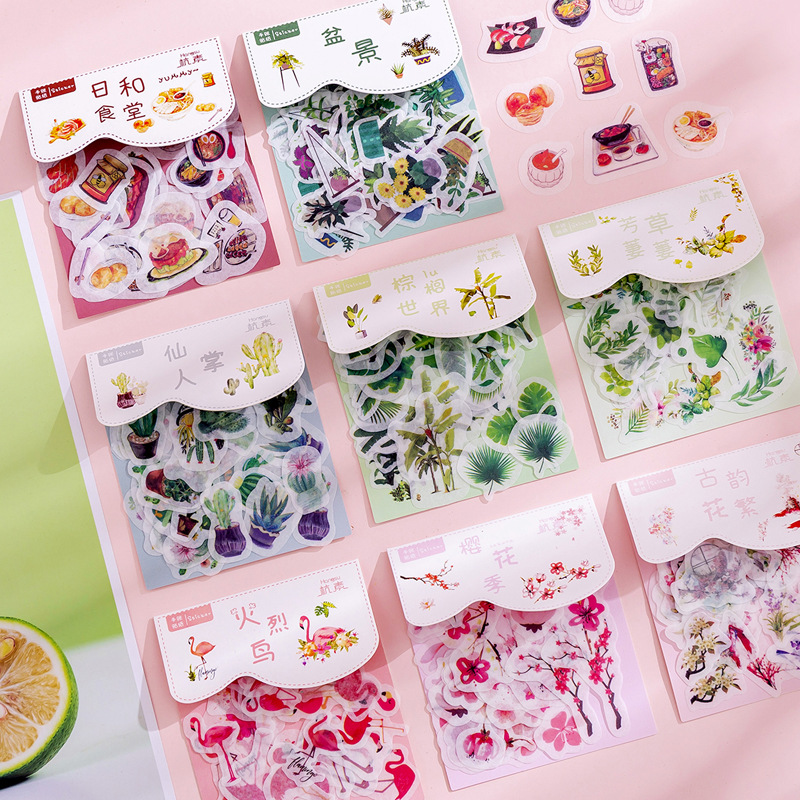 Mohamm 40 Pcs Beautiful Plant Series Paper Sticker Bag Creative Material Stickers Flakes