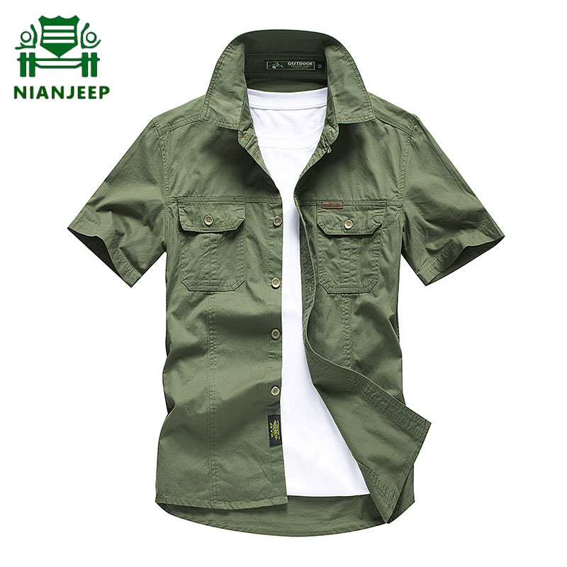 Men's Cargo Shirt Summer 100% Cotton Short Sleeve Breathable Casual Shirts Male Solid Military Army 4XL Airborne Tactical Camisa