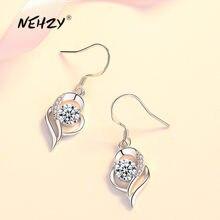 NEHZY-bijoux en argent sterling 925, nouveau bijou à la mode, boucles d'oreilles en zircon, bleu, rose, cristal en forme de cœur, longs pampilles ajourées, nouvelle collection