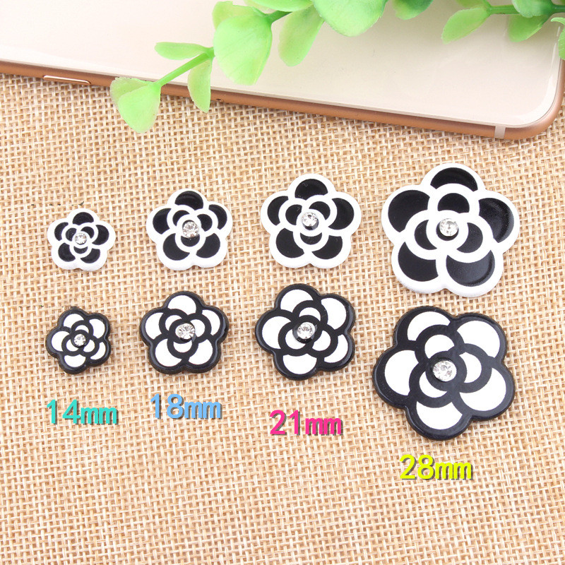Black White Color Planar Resin Cabochons Cute Rose Flower Clay